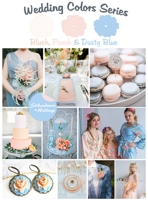 Blush, Peach and Dusty Blue Wedding Color Palette