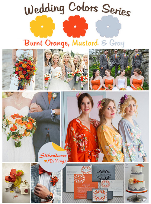 Burnt Orange, Mustard and Gray Wedding Color Palette