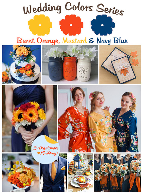 Burnt Orange, Mustard and Navy Blue Wedding Color Palette