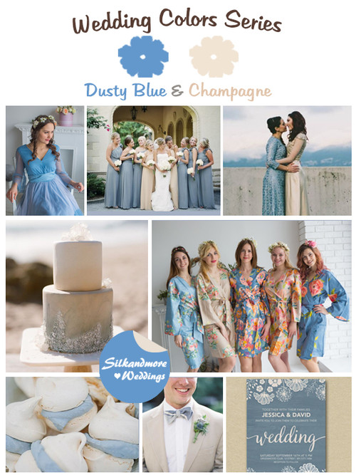 Dusty Blue and Champagne Wedding Color Palette