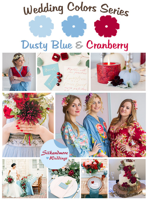 Dusty Blue and Cranberry Wedding Color Palette