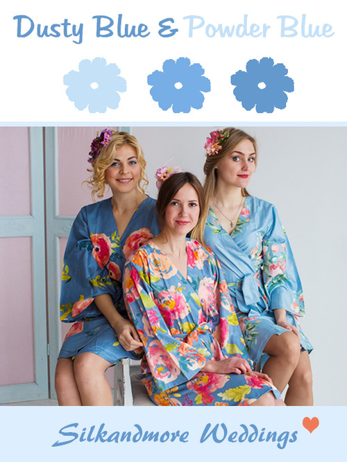Dusty Blue and Powder Blue Wedding Color Robes- Premium Rayon Collection