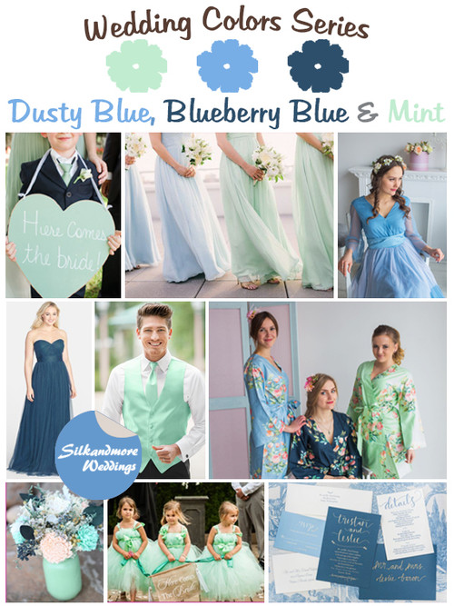 Dusty Blue, Blueberry Blue and Mint Wedding Color Palette
