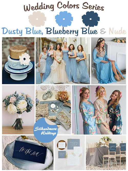 Dusty Blue, Blueberry Blue and Nude Wedding Color Palette