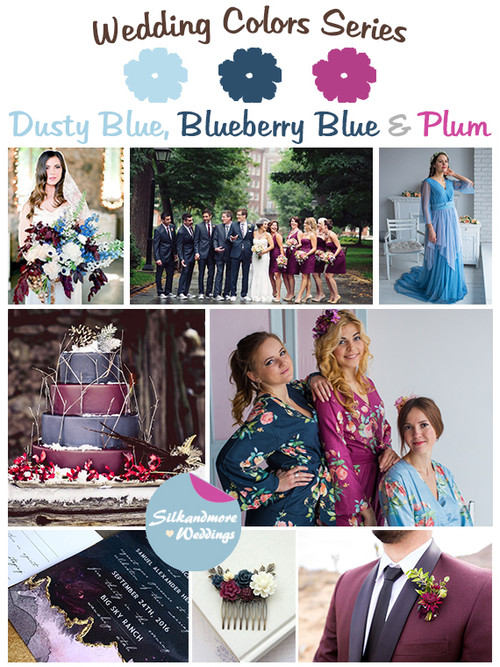Dusty Blue, Blueberry Blue and Plum Wedding Color Palette