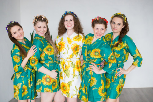 Teal Sunflower Robes for bridesmaids | Getting Ready Bridal Robes