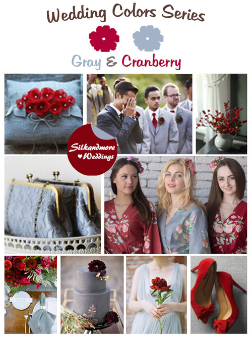 Gray and Cranberry Wedding Color Palette