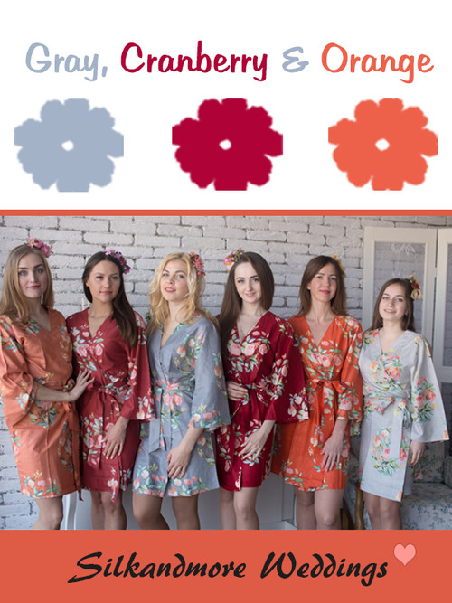 Gray, Cranberry and Orange Wedding Color Robes- Premium Rayon Collection