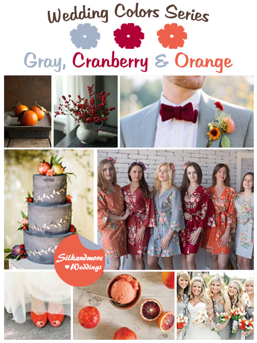 Gray, Cranberry and Orange Wedding Color Palette