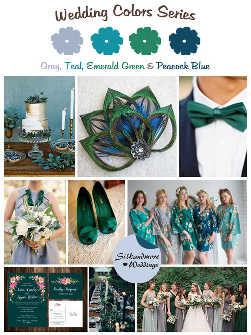 Gray, Teal, Emerald Green and Peacock Blue Wedding Color Palette