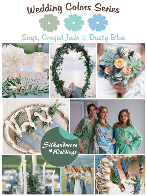 Grayed Jade, Sage and Dusty Blue Wedding Color Palette