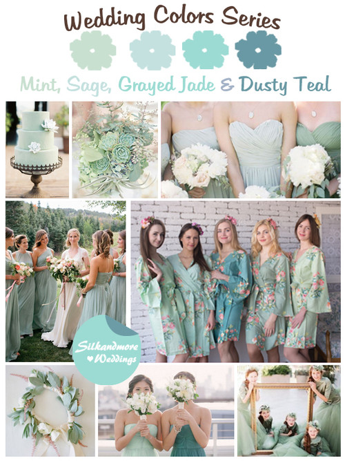 Mint, Sage, Grayed Jade and Dusty Teal Wedding Color Palette