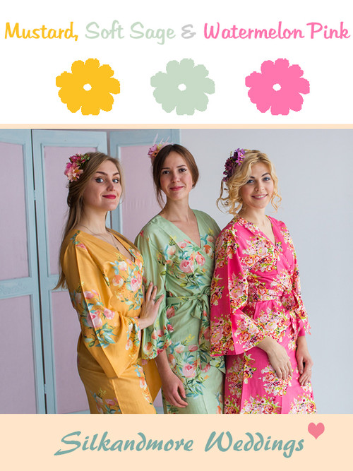 Mustard, Soft Sage and Watermelon Pink Wedding Color Robes- Premium Rayon Collection