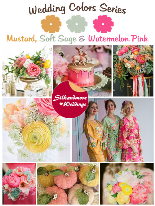 Mustard, Soft Sage and Watermelon Pink Wedding Color Palette