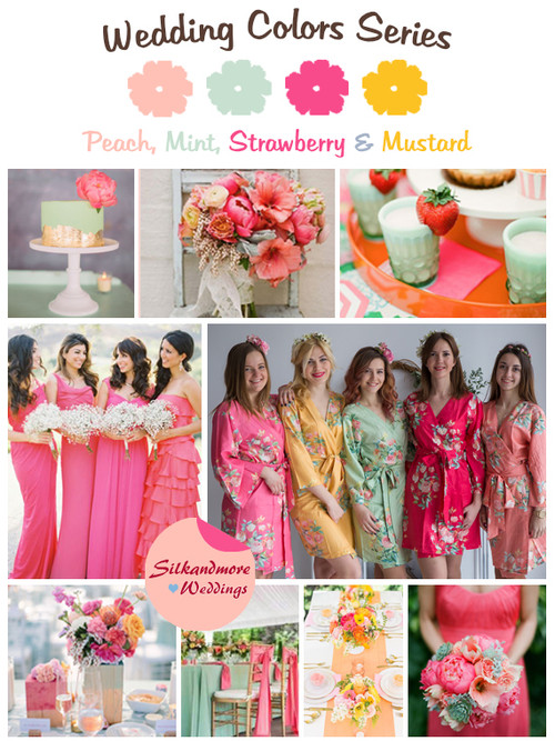 Peach, Mint, Strawberry and Mustard Wedding Color Palette