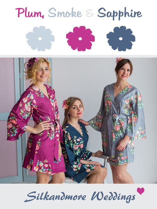 Plum, Smoke and Sapphire Wedding Color Robes- Premium Rayon Collection