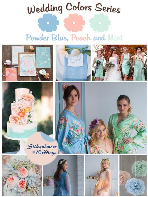Powder Blue, Peach and Mint Wedding Color Palette