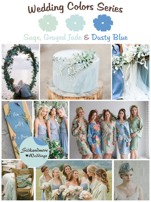 Sage, Grayed Jade and Dusty Blue Wedding Color Palette