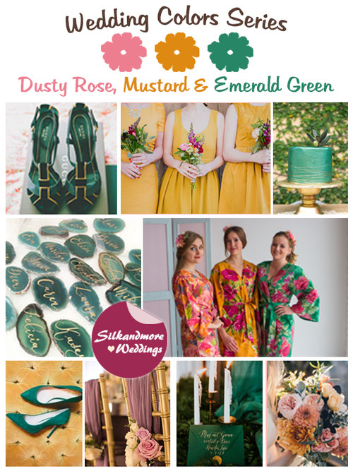 Dusty Rose, Mustard and Emerald Green Wedding Color Palette