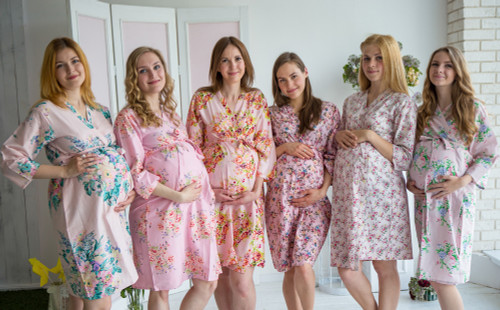 Mommies in Baby Pink Floral Robes