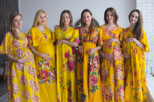Mommies in Yellow Maternity Caftans