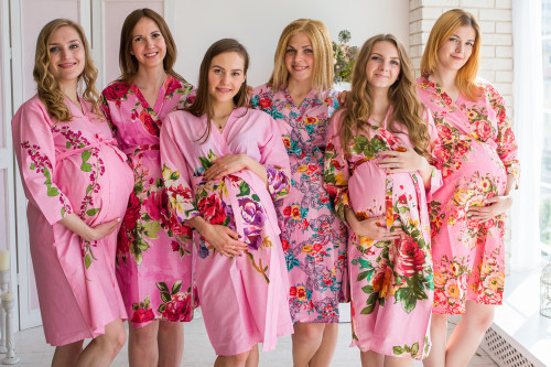 Mommies in Dark Pink Floral Robes