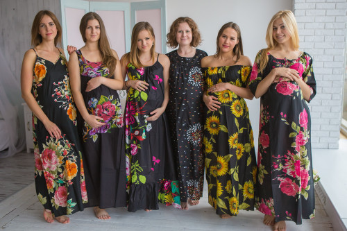 Mommies in Black Floral Night Gowns