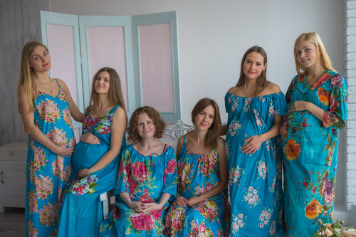 Mommies in Blue Floral Night Gowns