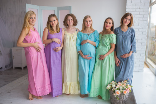 Mommies in Eyelet Night Gowns