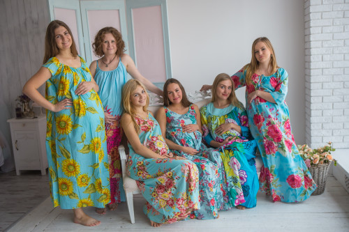 Mommies in Turquoise Blue Floral Night Gowns