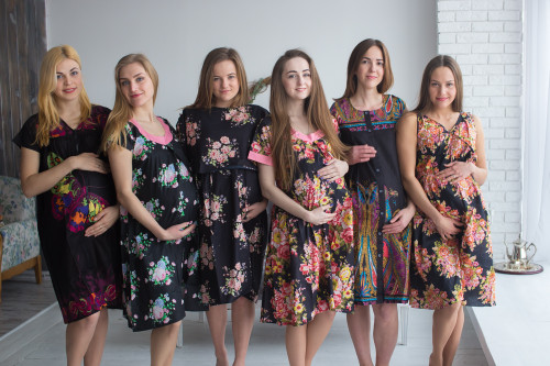 Black Floral Birthing Gowns