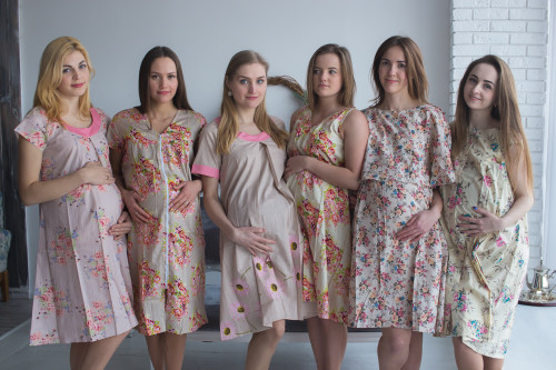 Cream Floral Birthing Gowns