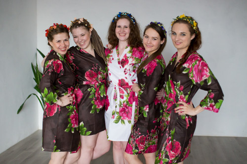Dark Brown Large Fuchsia Floral Blossoms Robes for bridesmaids | Getting Ready Bridal Robes