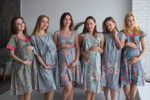 Gray Floral Birthing Gowns