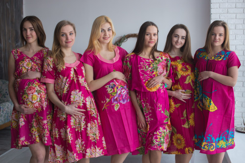Magenta Floral Birthing Gowns