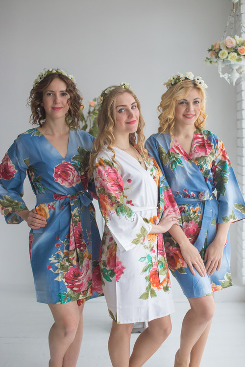 Light Blue Large Floral Blossom Robes for bridesmaids