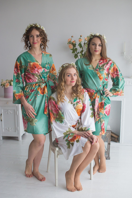Sage Large Floral Blossom Robes for bridesmaids | Getting Ready Bridal Robes