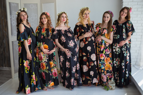 Mommies in Black Floral Maxi Dresses
