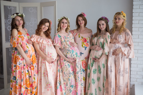 Mommies in Blush Floral Maxi Dresses