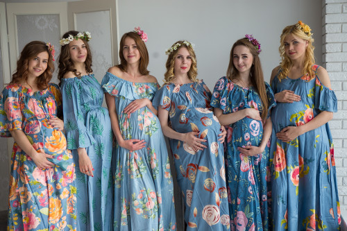 Mommies in Dusty Blue Floral Maxi Dresses