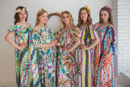 Mommies in Aztec Maxi Dresses