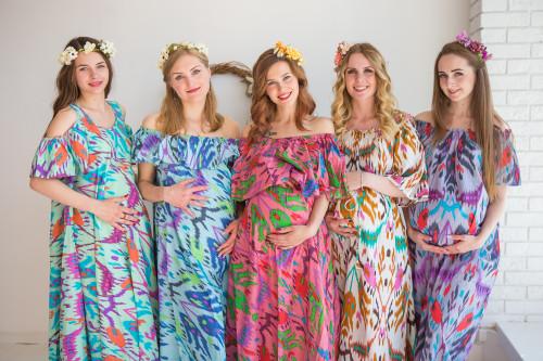 Mommies in Ikat Aztec Maxi Dresses