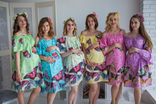 Mommies in Butterfly Shift Dresses