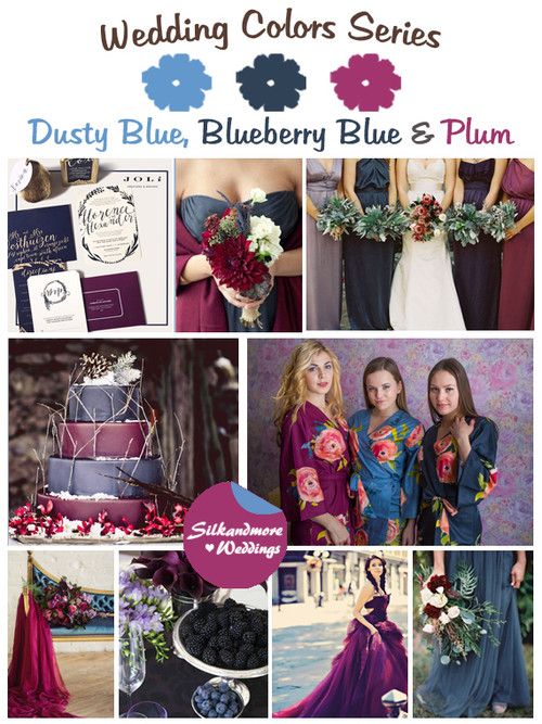 Dusty Blue, Blueberry and Plum Wedding Color Palette