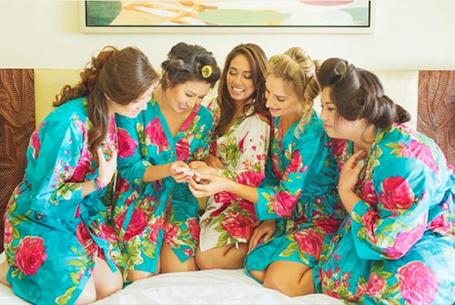 Teal Large Fuchsia Floral Blossoms Robes for bridesmaids | Getting Ready Bridal Robes