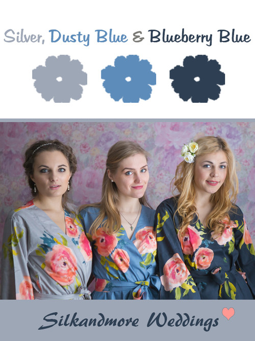 Silver, Dusty Blue and Blueberry Blue Wedding Color Robes - Premium Rayon Collection