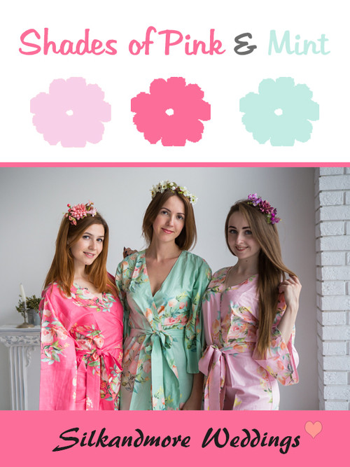 Shades of Pink and Mint Wedding Color Robes - Premium Rayon Collection
