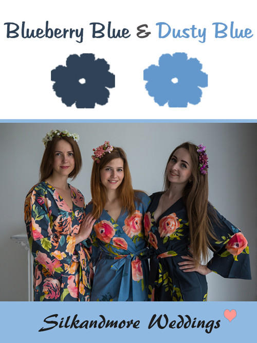 Blueberry Blue and Dusty Blue Color Robes - Premium Rayon Collection