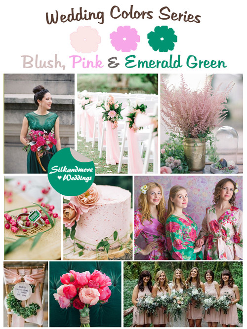 Blush, Pink and Emerald Green Wedding Color Palette