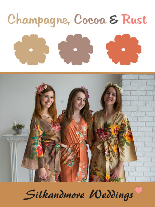 Champagne, Cocoa and Rust Color Robes - Premium Rayon Collection